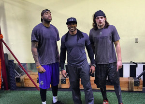 Former NY Giants WR Jamar L. Howard and DB Bryce Peila of the AFL Portland Steel