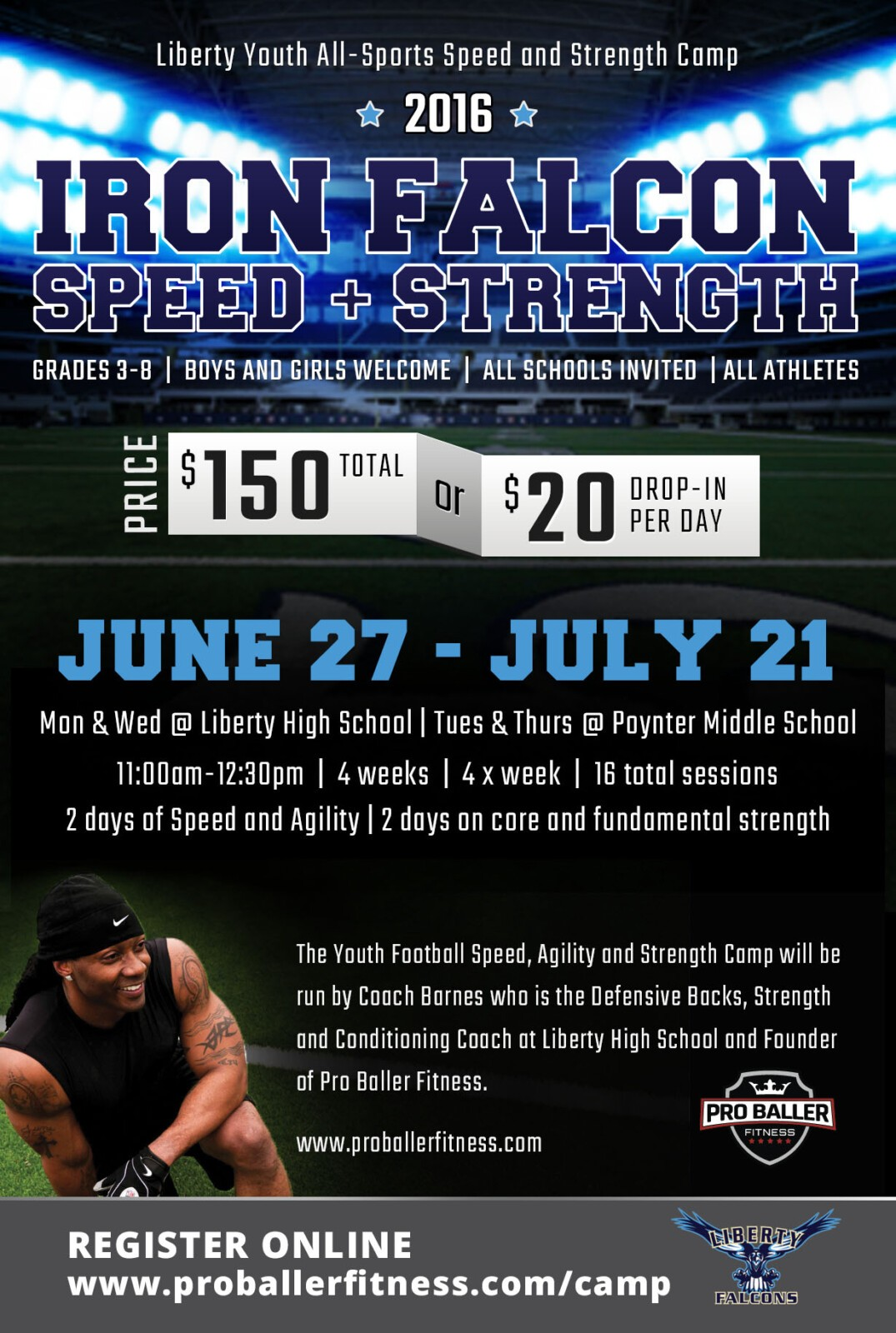 Liberty Falcons Strength and Conditioning Camp with John Barnes Pro Baller Fitness