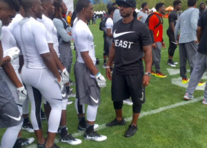 JB coaching up the DB's at The Nike Opening